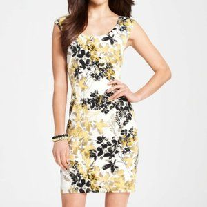 ANN TAYLOR Botanical Print Dress Yellow Tan Floral
